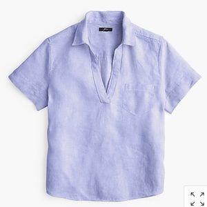 J Crew short-sleeve popover in linen